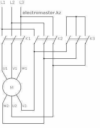 Схема подключения пуска звезда-треугольник трехфазного электродвигателя.